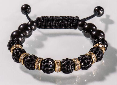 Shamballa pulsera señora pedrería brillo cristal negro oro señores brazalete OVP