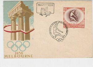 Poland 1958 Celebrating Melbourne Olympics RingsCancel FDC Stamp Cover Ref 23048