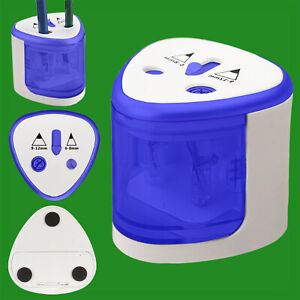 Blue-Electric-Battery-Powered-Portable-2-Hole-Pencil-Sharpener-School-Office