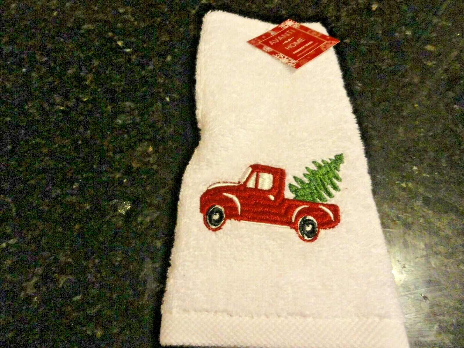 1 New Truck Christmas Trees Cut & Carry Spruce burgundy white fingertip Towel