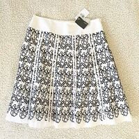 Womens Mexx Size 10 Embroidered Skirt Eyelet Black White Panel A-line