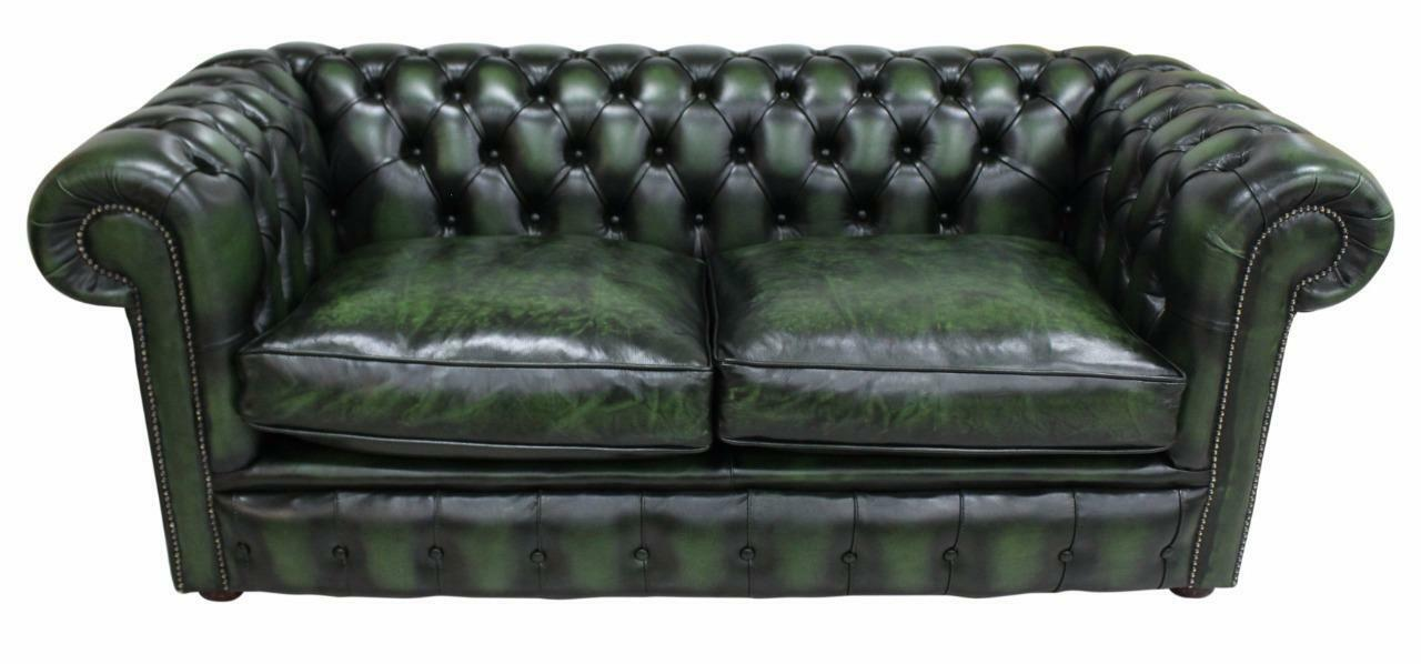 Fabulous Details About Chesterfield 2 5 Seater Antique Green Leather Sofa Settee Fibre Cushions Onthecornerstone Fun Painted Chair Ideas Images Onthecornerstoneorg