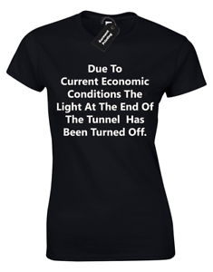 DUE TO THE CURRENT ECONOMIC CONDITIONS LADIES T SHIRT WOMENS FUNNY DEATH DESIGN
