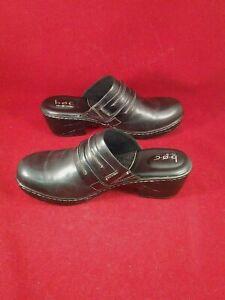 BOC-Born-Concepts-Womens-Black-Leather-Mules-Clogs-Slip-On-Shoes-Size-10M-NEW