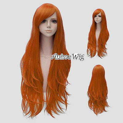 Fashion Orange Long 80CM Wavy Lolita Lady Cosplay Wig + Wig Cap