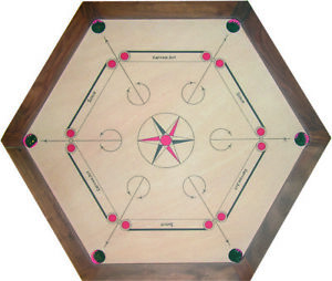 Carrom board Striker Game Large coins and set Quality Tournament Hexagon 35 X 35
