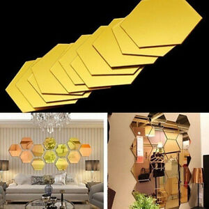 2 12pcs 3d Hexagon Mirror Wall Stickers Removable Home Room Art