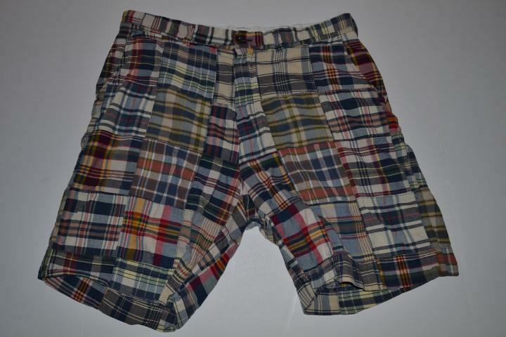 POLO RALPH LAUREN NAVY blueE RED MADRAS SHORTS MENS SIZE 36