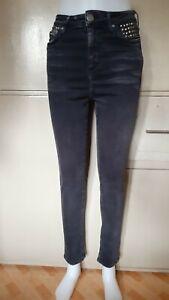 Topshop-Moto-Distressed-Black-High-waist-Skinny-Jeans-sz-W28-L32-on-tag