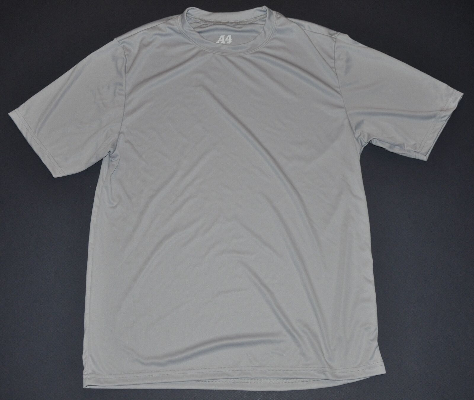 New w/o tags A4 Mens Silver Performance Cooling Crew T-Shirt Polyester Running