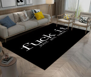 Details About Slang Black And White Area Rug Cozy Floor Door Mat Carpet High Quality