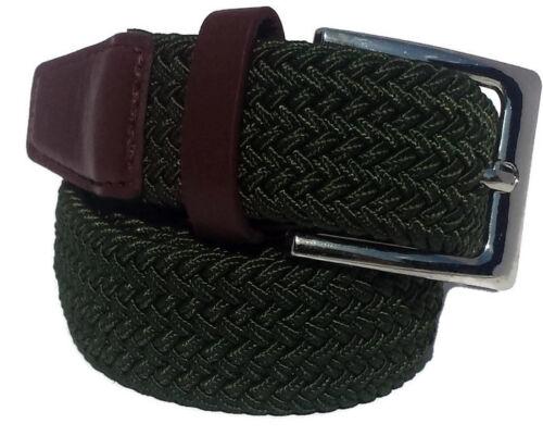 Mens /& Womens Khaki Green Braided Stretch Elasticated belt