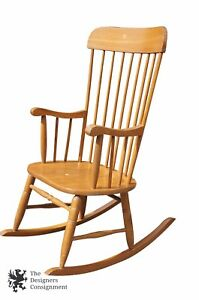 Good Image Is Loading Large 9 Spindle Sheraton Style Ash Rocking Chair
