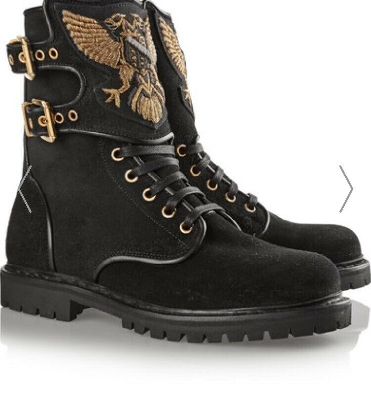 Original 40 Balmain Ranger Leather Embroideled Stiefel 40 Original Rechnung 52908b