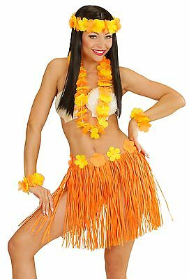 Hawaii Girl Kostüm-Set orange NEU - Damen Karneval Fasching Verkleidung Kostüm