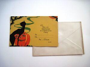 RARE-Vintage-Halloween-Invitation-w-Black-Cat-w-Green-Curvy-Smoke