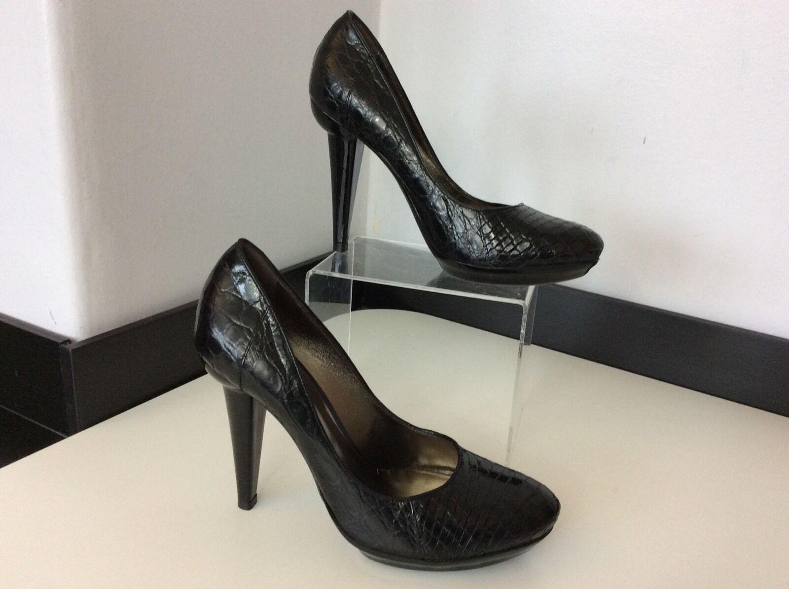 BOTTEGA VENETA NEW schwarz Leder Schuhes Größe Heels 37 Uk 4 Bnwob  Court Heels Größe d8063b