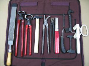 Hufbeschlagset-Garnitur-Werkzeugtasche-Hufschneidezange-Krokodilzange-Hammer