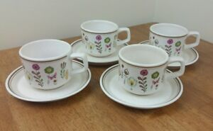 Lenox-Temperware-Cups-amp-Saucers-Sprite-Pattern-Set-Of-4-Vtg-Floral-Butterfly