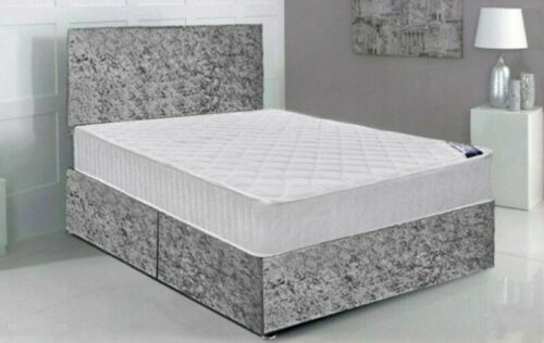 Velvet Bed frameFree Headboard without Foam Mattress 3FT 4FT6 5FT
