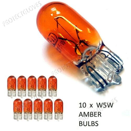 T10 W5W 501 Amber Bulb Orange Side Light Capless Bulb 12v Standard Car Bulbs X10