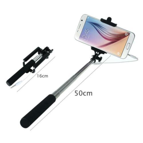 Mini Monopod Selfie Stick Con Cable construido en obturador soporte para teléfono móvil 3 Colores
