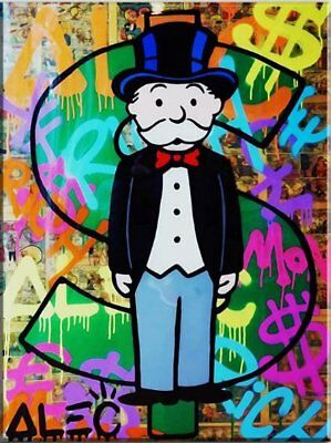 """Alec Monopoly Oil Painting on Canvas HUGE Urban art Star Wars C-3PO 24x48/"""""""