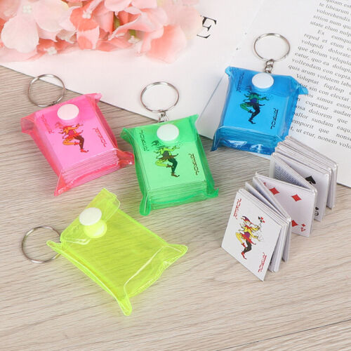 1Pc 4*3cm Portable Mini Playing Cards Keychain Small Poker Board Game Key Ch ZT