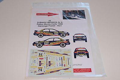 Decals 1/43 Subaru Impreza Wrx N°26 Postel Rallye Monte Carlo 1996 Rally Wrc