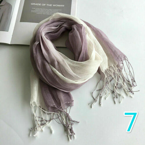 Womens Linen Gradient Scarf Wrap Shawls Stole Scarves Tassel Fringe Light Weight