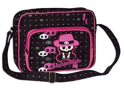 Skelanimals Chungkee Monkey Skull Black Pink Gothic Shoulder Strap Courier Bag