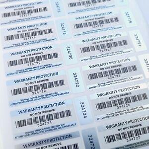 Warranty Void Stickers Tamper Proof 2-part Barcode Labels Tamper Evident Seals