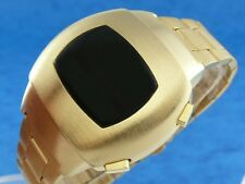 GOLD 1970s Vintage Style LED LCD DIGITAL Rare Retro Mens Watch 12 & 24 hour p3