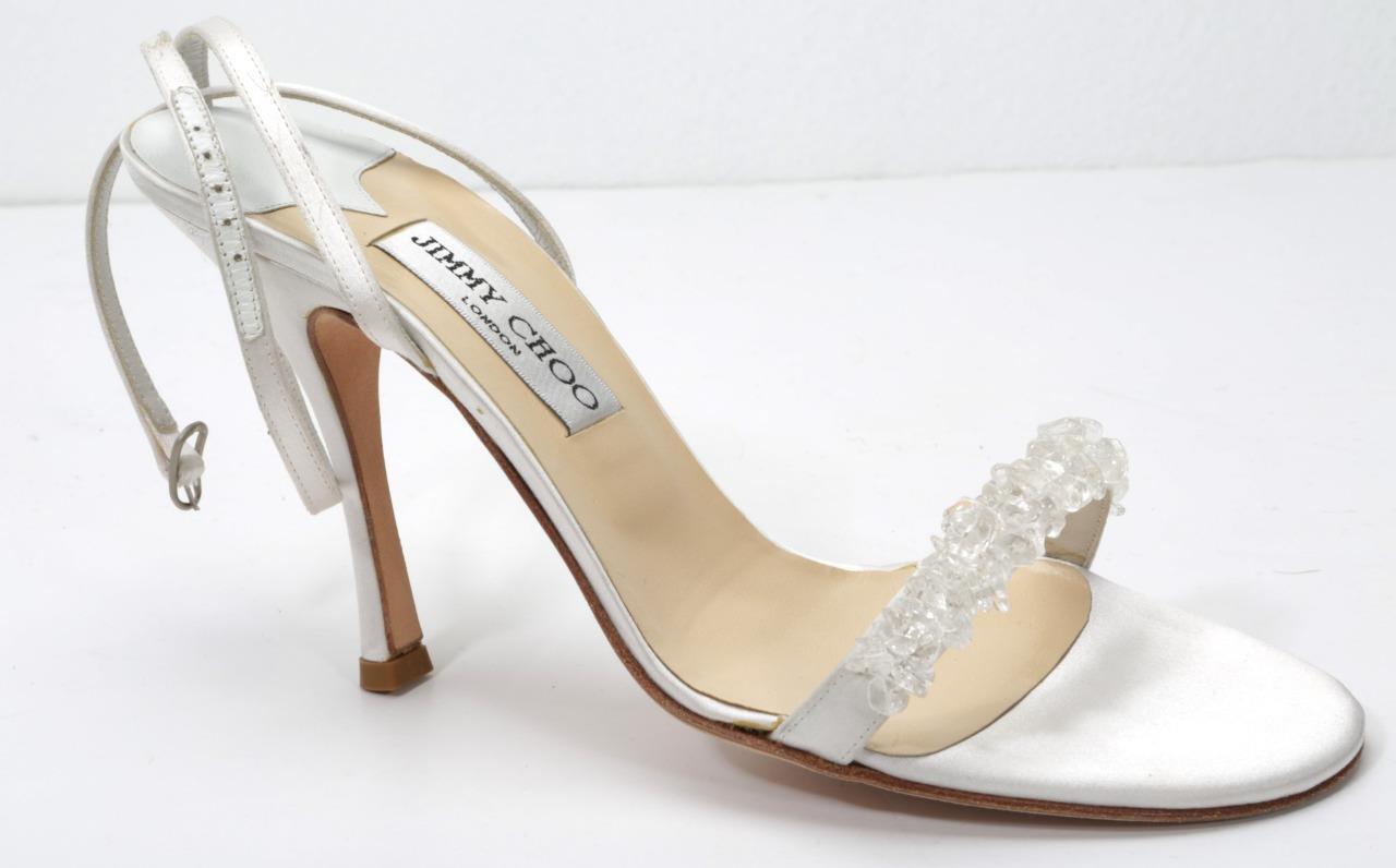 JIMMY CHOO White Satin High Heel Strappy Beaded Open-Toe Sandal Pump shoes 9-39