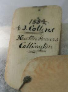 ANTIQUE-c1884-Original-memoir-carved-circular-box