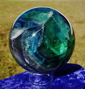 LARGE-FLUORITE-Sphere-Ball-with-Zig-Zag-amp-Rainbows-Blue-Purple-Deep-Rich-Colors
