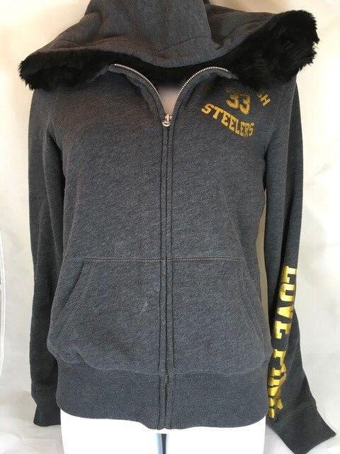 Victoria's Secret Pink Nfl Bling Hoodie Pittsburgh Steelers Faux Fur Sweatshirt