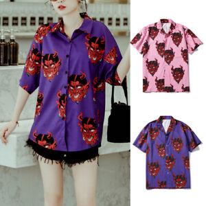 Women-Girls-Plus-Size-Beach-Streetwear-Devil-Printed-Short-Sleeve-Casual-Summer