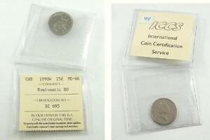 1998W Canada 25 Cents Coin - ICCS Certification No. BI 695 - Numismatic BU