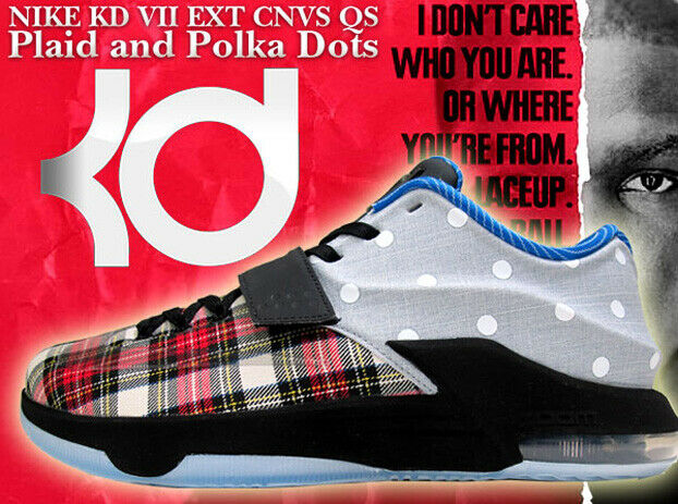 NIKE KD DURANT VII 7 CANVAS QS PLAID POLKA DOTS [726439-600] Size 9 NBA Play OFF