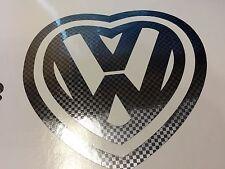 CARBON FIBER VW HEART Vinyl Decal Sticker Window Car Truck Dub Volkswagen