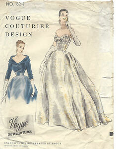 308ec308d63a Image is loading 1954-Vintage-VOGUE-Sewing-Pattern-B32-DRESS-EVENING-