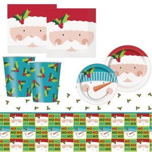Weihnachtsmann-Weihnachten-Party-Zubehoer-Geschirr-Dekorationen-Luftballons