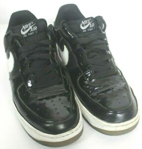 Nike Air Force 1 Black White Swoosh Awesome Shiny Basketball Kicks Sneakers Shoe Ebay