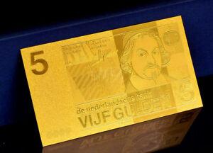 PAYS-BAS-NETHERLANDS-BILLET-POLYMER-034-OR-034-DU-5-GULDEN