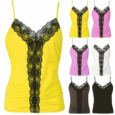 Women Ladies Floral Lace Mesh V Neck Ruched Camisole Strappy Sleeveless Vest Top Moderate Kosten