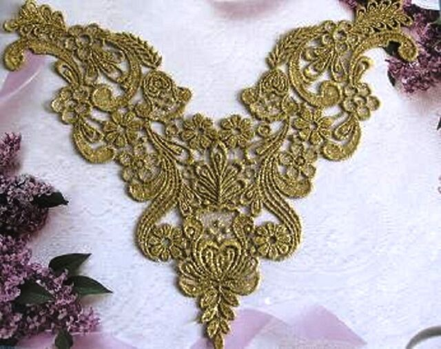 """2 Venise Venice lace~ Vintage Beautiful 9"""" gold Matllic Antique yoke Front G1"""