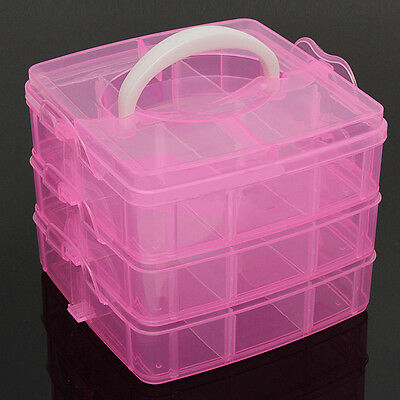 Pink Clear Plastic Jewelry Bead Storage Box Container Organizer Case Craft Tool