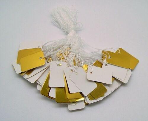 "200 Blank GOLD WHITE JEWELRY Price TAGS 1/"" x 1//2/""  w// String Sturdy Card Stock"