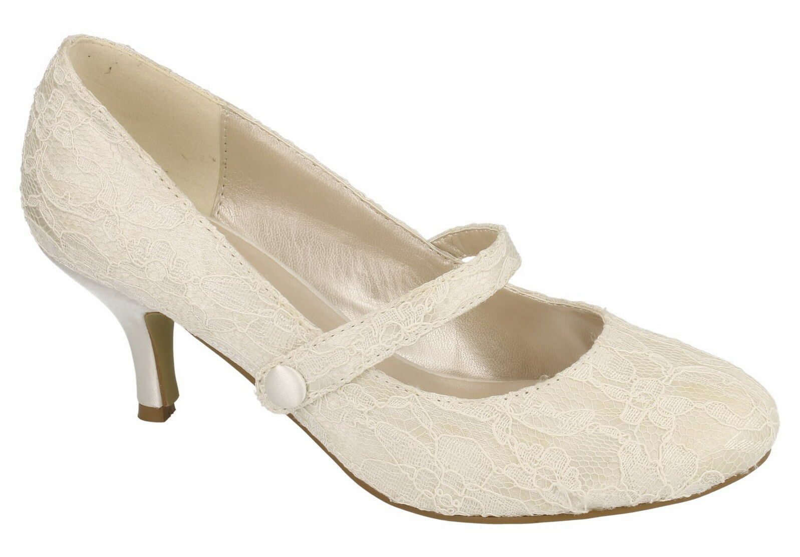 LADIES ANNE MICHELLE IVORY SATIN WEDDING LACE SHOES F9753